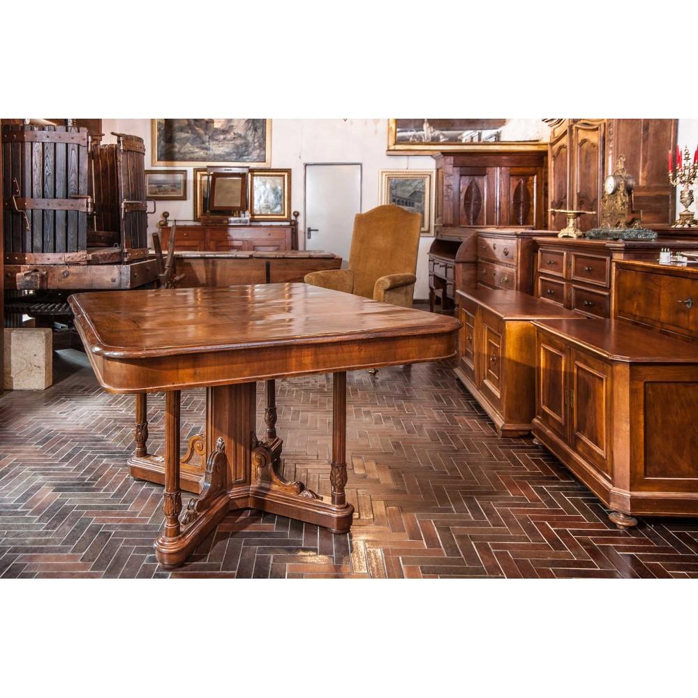 Tavolo Con Gamba Centrale Allungabile tavolo quadrato allungabile luigi filippo